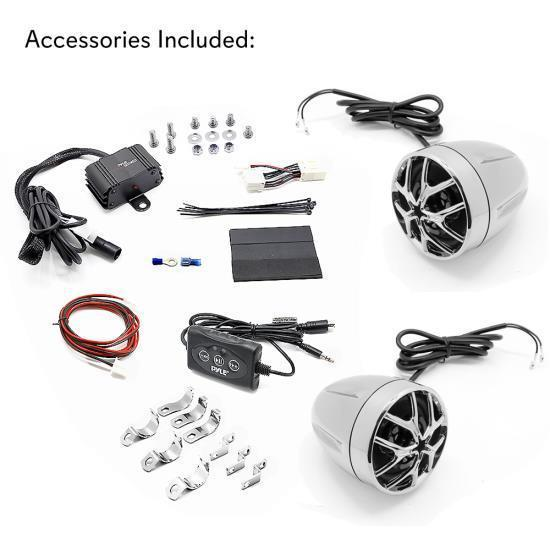 Bluetooth Weatherproof Speaker & Amplifier System, Water Resistant Amp & Speaker Kit with Wireless Audio Streaming (for Motorcycle, ATV/UTV, Golf Cart, Scooters, Marine Vehicles)