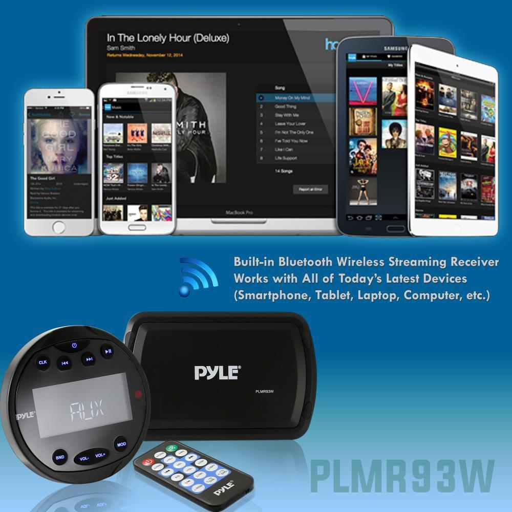 Pyle Bluetooth Stereo Boat Receiver System, Wired Control Unit, Waterproof, AM/FM Radio, (PLMR93W)