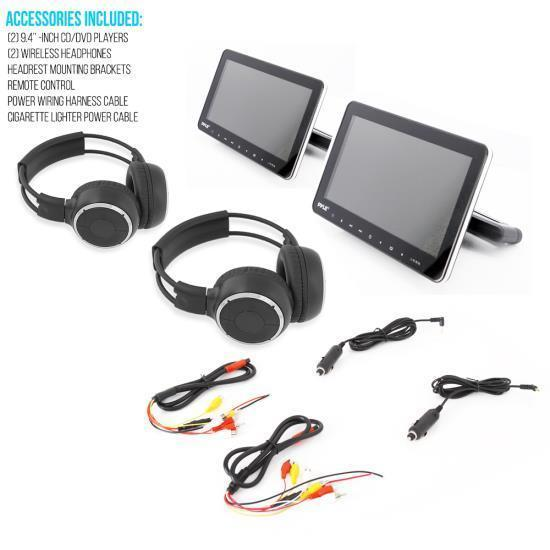 Pyle Dual Vehicle Headrest Mount CD/DVD Player System, 9.4'' HD Screen, Wireless Headphones, (PLHRDVD90KT)