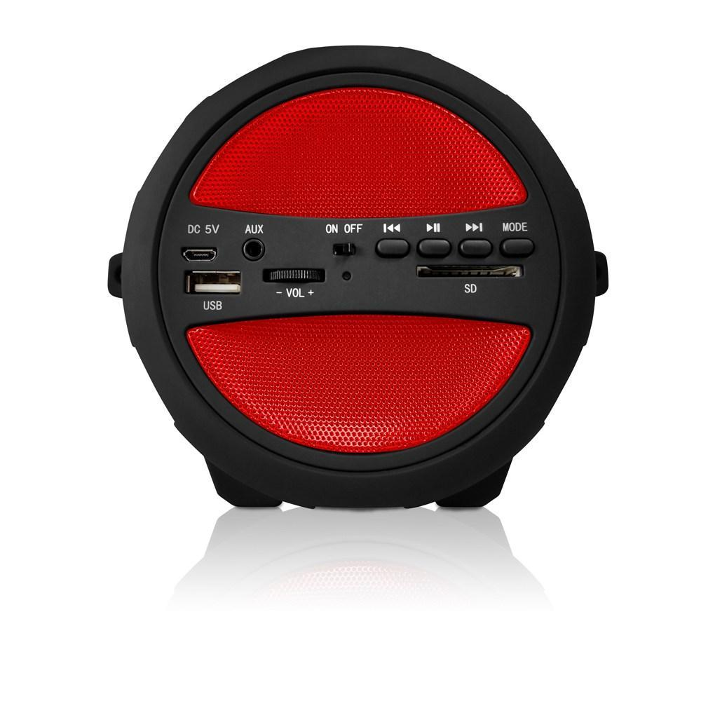 AXESS  Portable Thunder Sonic Bluetooth Cylinder Loud Speaker with Built-in FM Radio, SD Card, USB, AUX Inputs in Red (SPBT1041RD)
