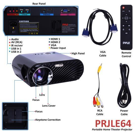 Pyle Compact Color Pro Digital Projector, HD 1080p Support, Built-in Speakers, HDMI/USB/VGA (PRJLE64)