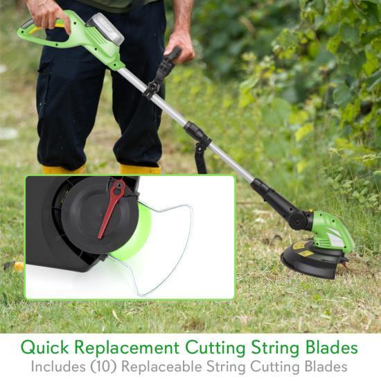 SereneLife Cordless Grass Trimmer Edger, Electric Garden Landscape Cutter, Built-in 18V Rechargeable Battery, Replaceable String Cutting Blades (PSLCGM25)