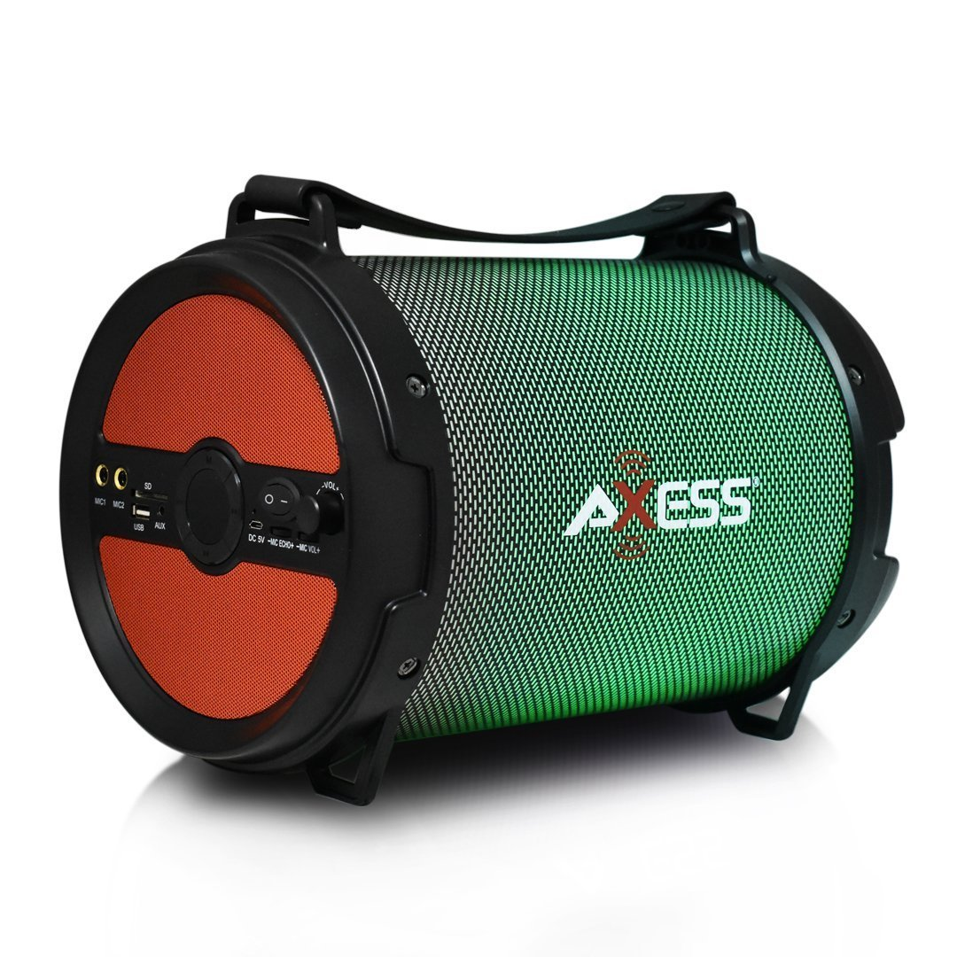 "AXESS Portable Bluetooth 2.1 LED Lit Hi-Fi Cylinder Loud Speaker with Built-In 6"" Sub and SD Card, USB, AUX, 2 Microphone Inputs in Red (SPBL1046RD)"