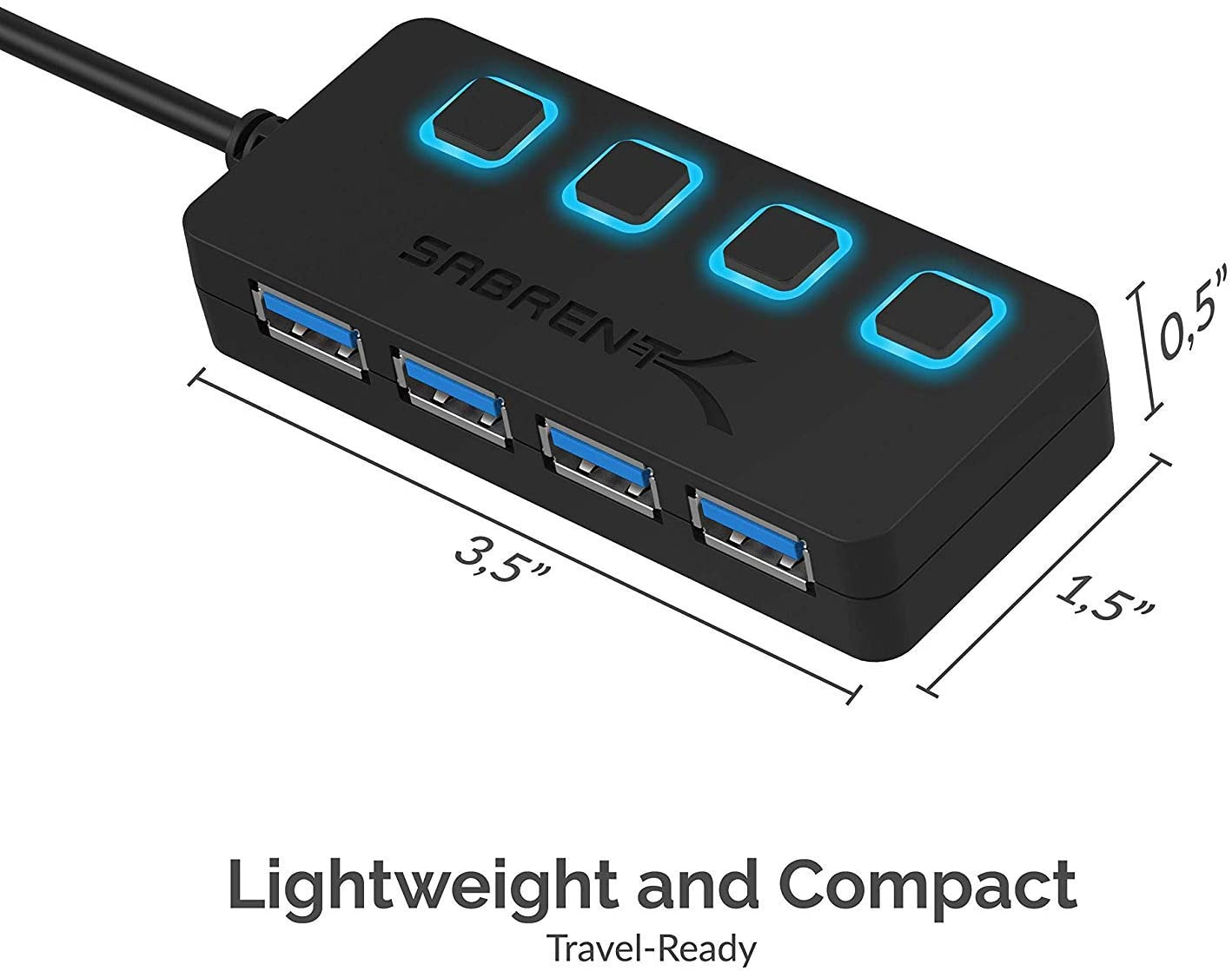 Sabrent 4 Port USB 3.0 Hub, High Speed, Individual Power Switches, Power Adaptor, 5 Gbps (HB-UMP3)
