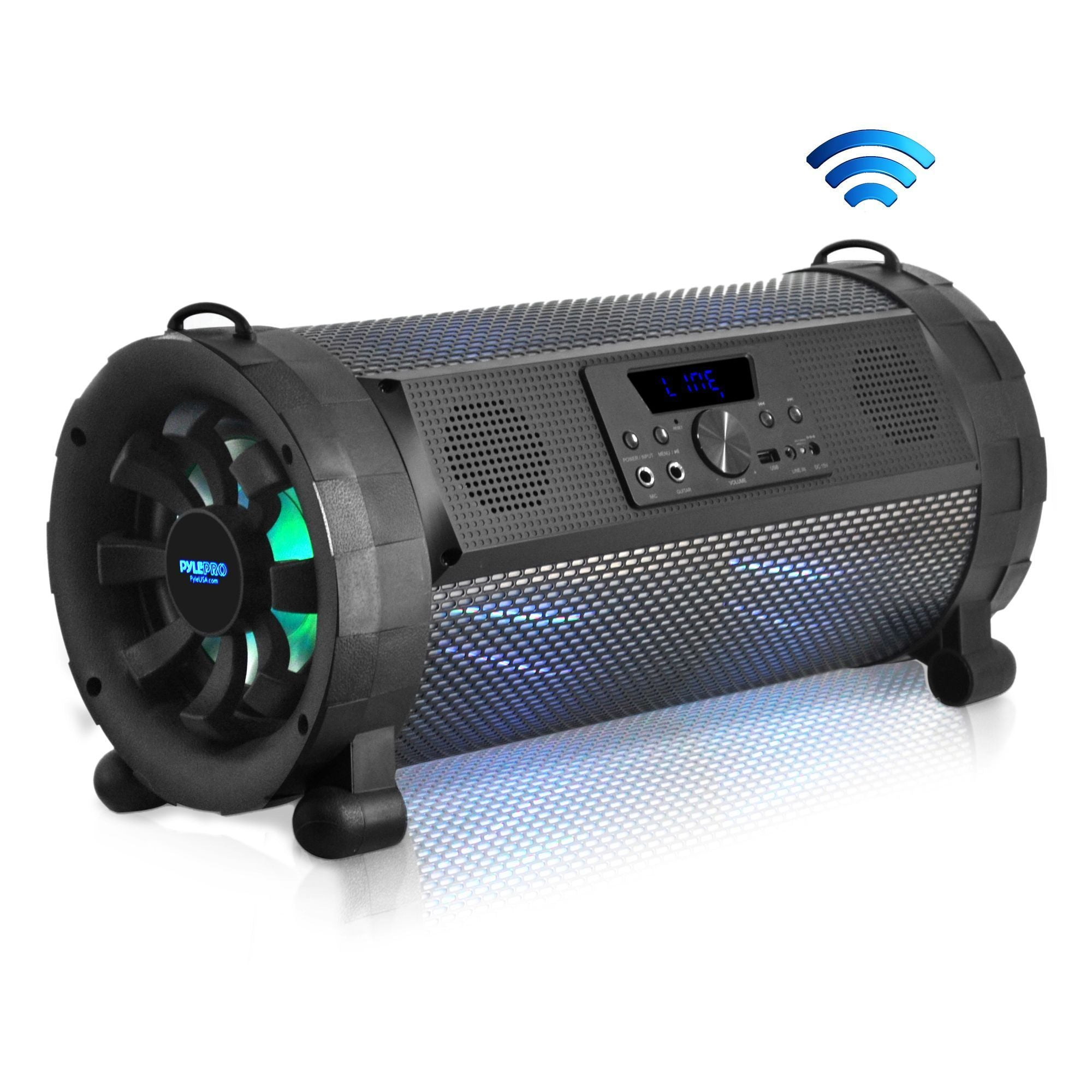 Pyle Street Blaster Bluetooth Boom Box Speaker System - Wireless & Portable Stereo Speaker with Built-in LED Lights, FM Radio (300 Watt) (PBMSPG190)