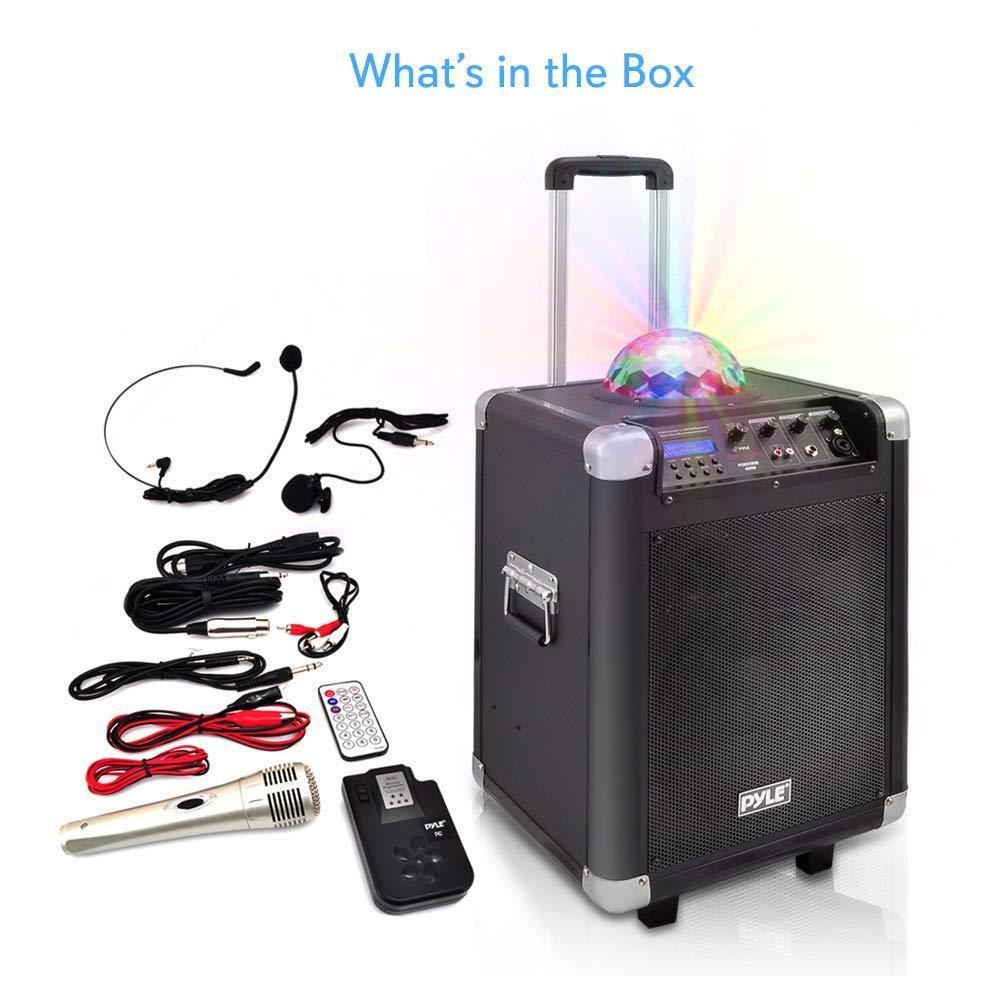 "Pyle Portable Karaoke PA Speaker - Disco Jam System Machine with LED Party Light 400 Watt Rechargeable Battery Wireless Headset, Microphone, AM/FM Radio, 10"" Subwoofer and Bluetooth PCMX280B"