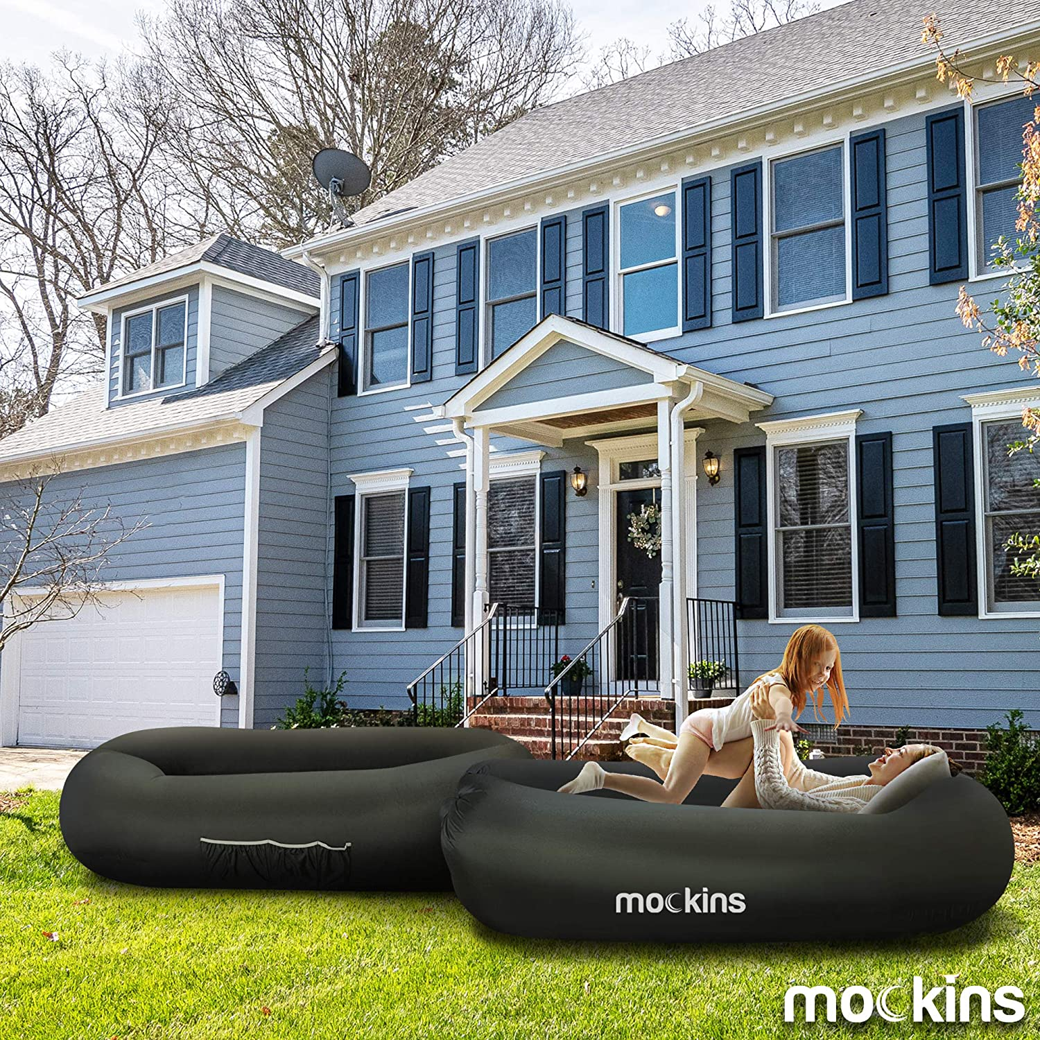 Mockins Portable Compact Inflatable Lounger, Travel Bag Pouch - Black (MMINFBLK36)