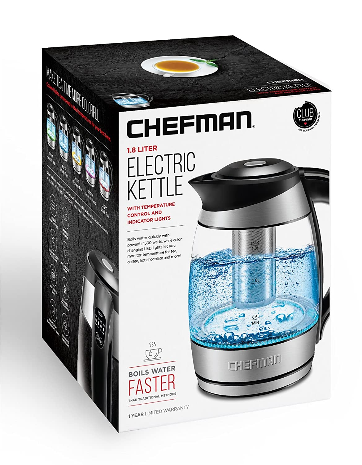 Chefman 1.8 L Electric Kettle, Stainless Steel, 5 Coloured Presets, 360° Swivel Base, BPA Free, (RJ11-17-CTI-CA)