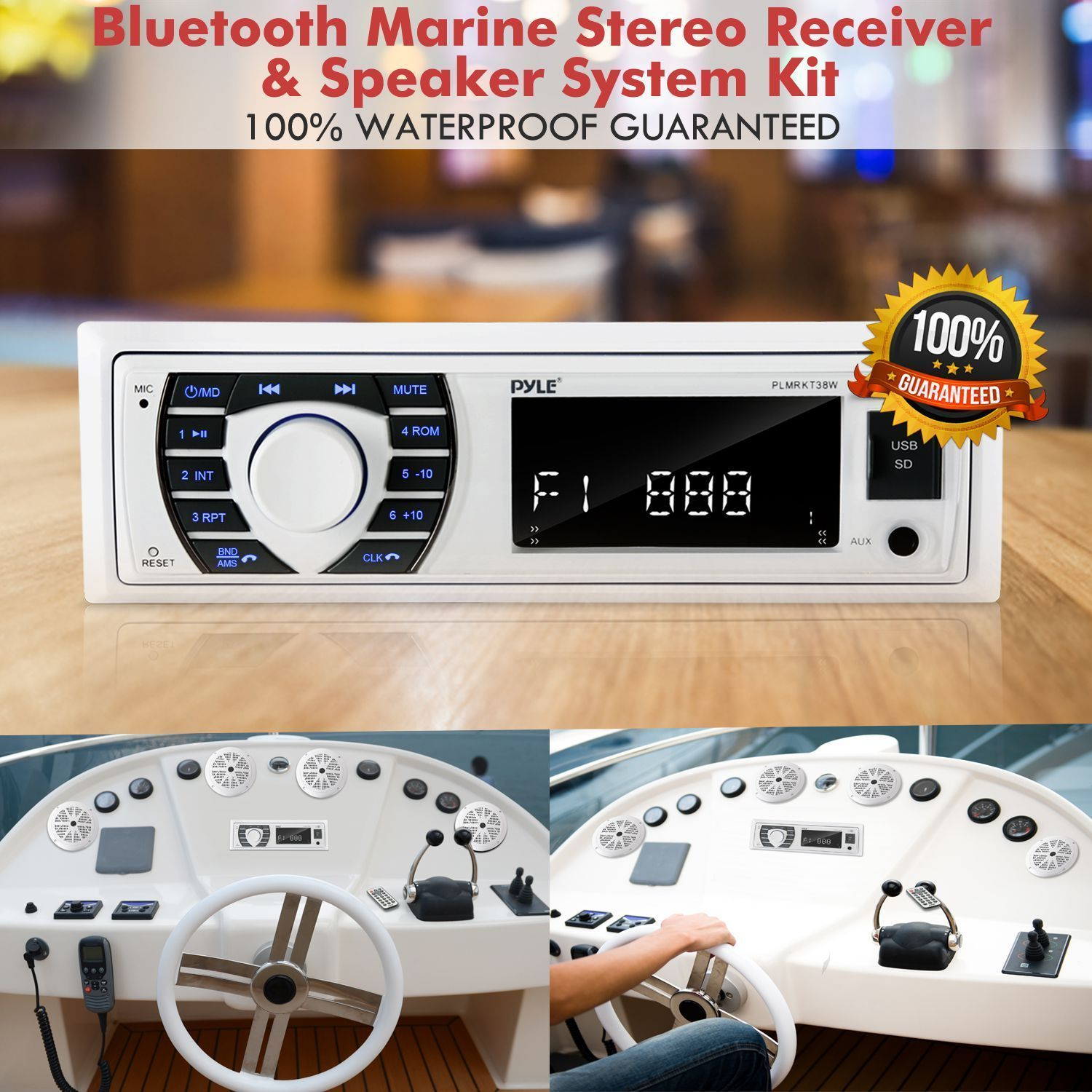 Marine Radio Receiver Speaker Set - 12v Single DIN Style Bluetooth Compatible Waterproof Digital Boat In Dash Console System with Mic - 4 Speakers, Remote Control, Wiring Harness - PLMRKT38W (White)