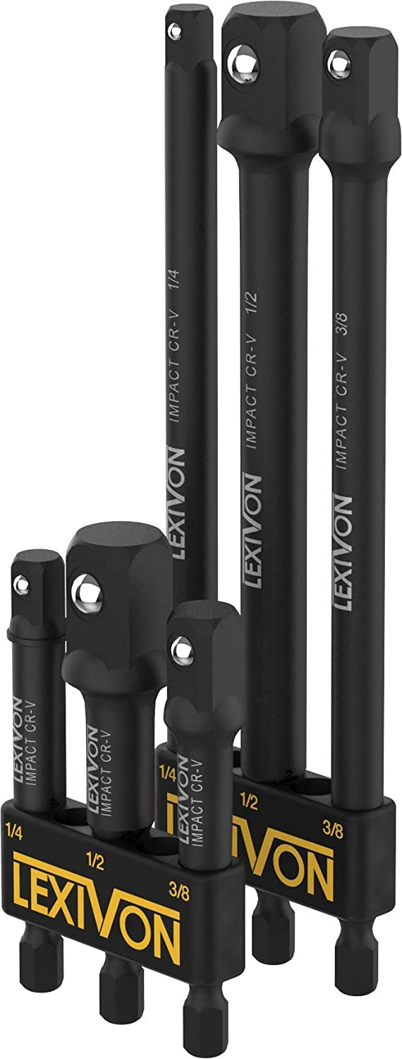 "Lexivon Impact Socket Adaptor 6pc Set, 3"", 6"" Extension Bit, 1/3"", 3/8"", 1/2"" Power Drill to Torque Impact Wrench (LX-105)"