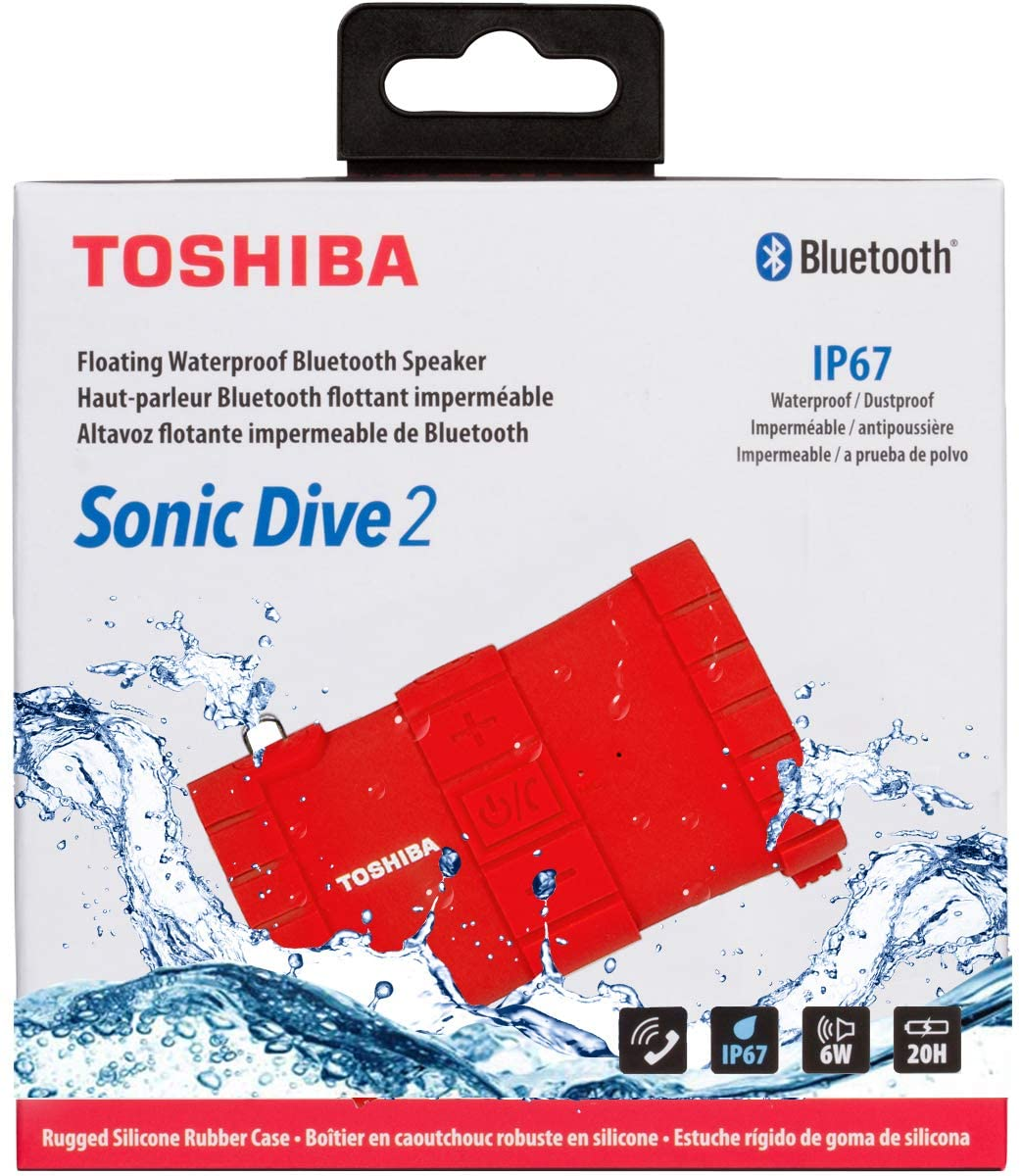 Toshiba Sonic Dive 2 Portable Bluetooth Speaker, Waterproof (TY-WSP100)