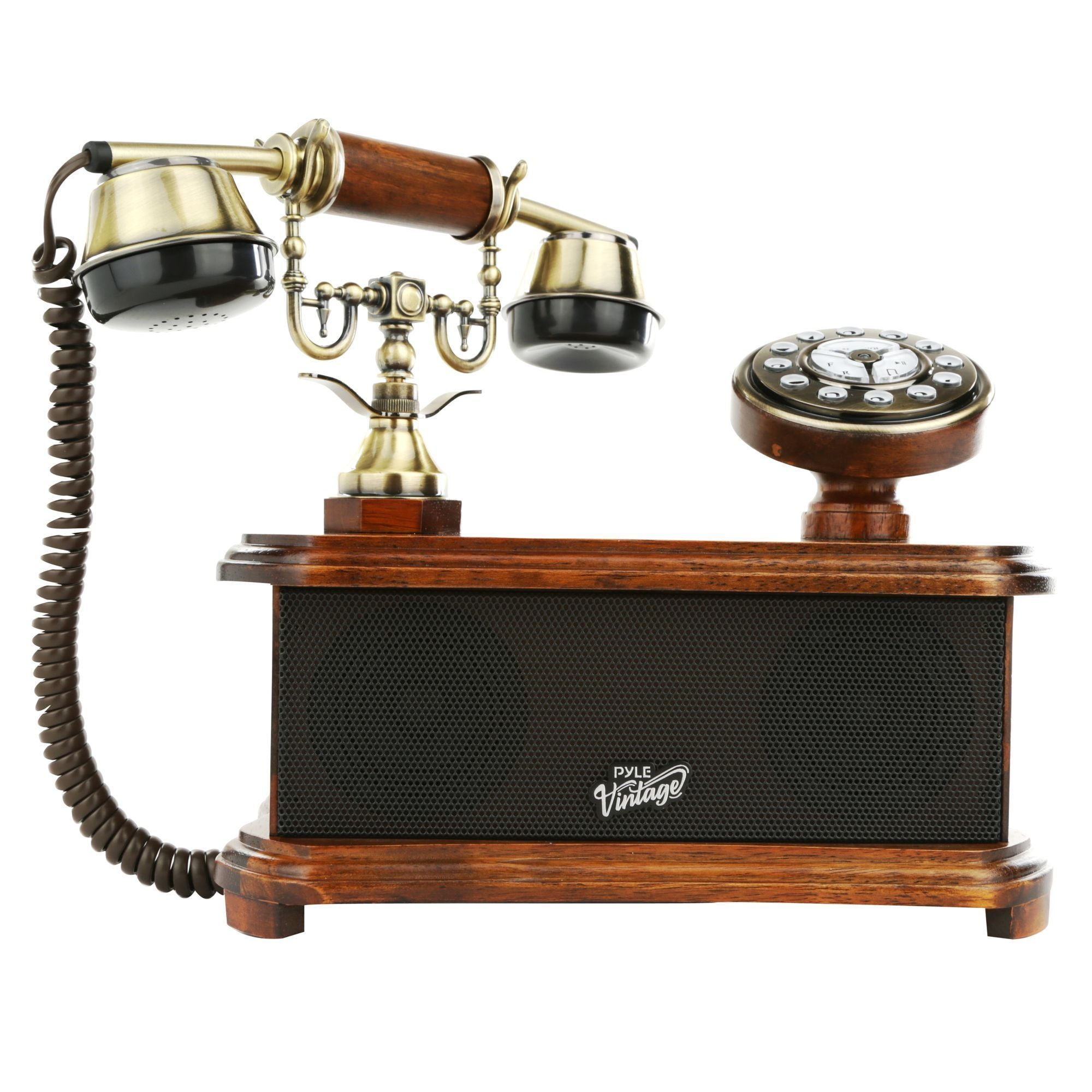 Pyle 2-in-1 Classic Bluetooth Vintage Telephone, Rotary Phone Dial, Birch Wood Brushed Copper, (PVNTL53BT)