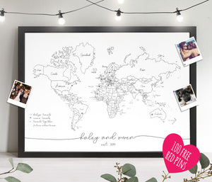 Personalised FRAMED Travel World Map Push Pin-board
