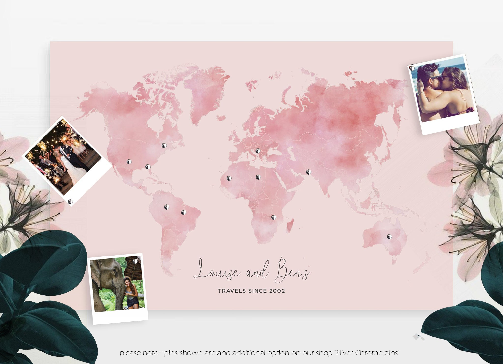 Personalised watercolour blush travel world map push pin board personalised gifts fireflies designs personalised gifts fireflies designs gumiabroncs Images