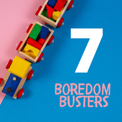7 Boredom Busters image with wooden toy train