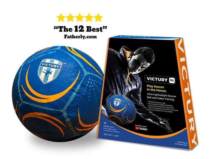 Image of VICTURY V1 ball and packaging and review from Fatherly.com