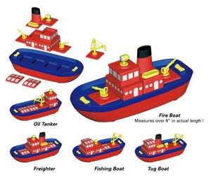 Image of Build-A-Boat by Popular Playthings and multiple combinations shown.