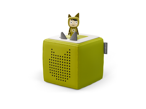 Image of green Toniebox and Creative-Tonie figure