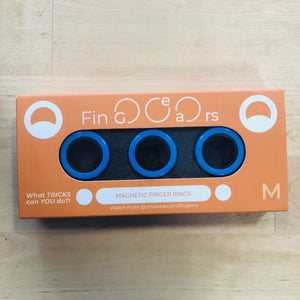 Image of Blue and Black FinGears size medium in packaging