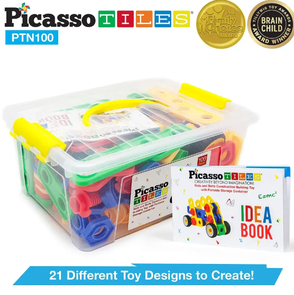 Image of PicassoTiles Engineering Construction Set packaging, idea book, and seals of awards