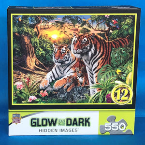 Image of 550 piece Jungle Pride Glow in the Dark puzzle packaging