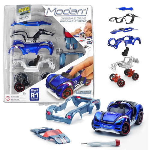 Image of blue R1 Modarri vehicle and packaging