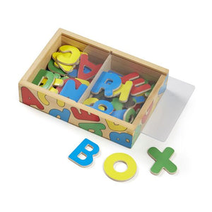"Image of Alphabet Magnets displayed with magnets spelling out the word ""box"""