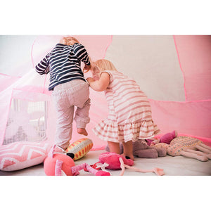 Image of children playing inside AirFort Pink & White tent