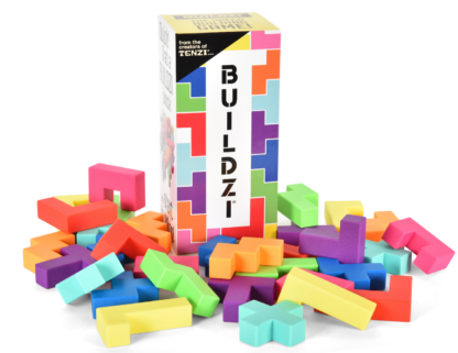 Image of BUILDZI packaging displayed with building pieces