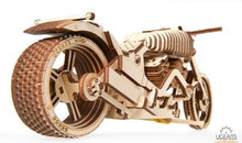 Image of completed UGears Bike VM-02 model from the rears end