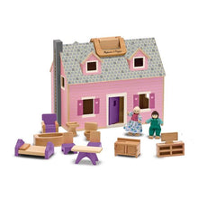 Image of Fold & Go Wooden Dollhouse, dolls, and furniture