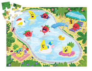 Image of partially completed Fruity Pool Party Puzzle by Peaceable Kingdom