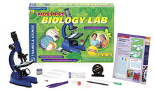 Image of Kids First Biology Lab microscope, components, and packaging