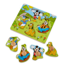Image of Mickey Mouse Wooden Jumbo Knob Puzzle with pieces displayed