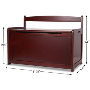 Image of Espresso Toy Chest with dimensions