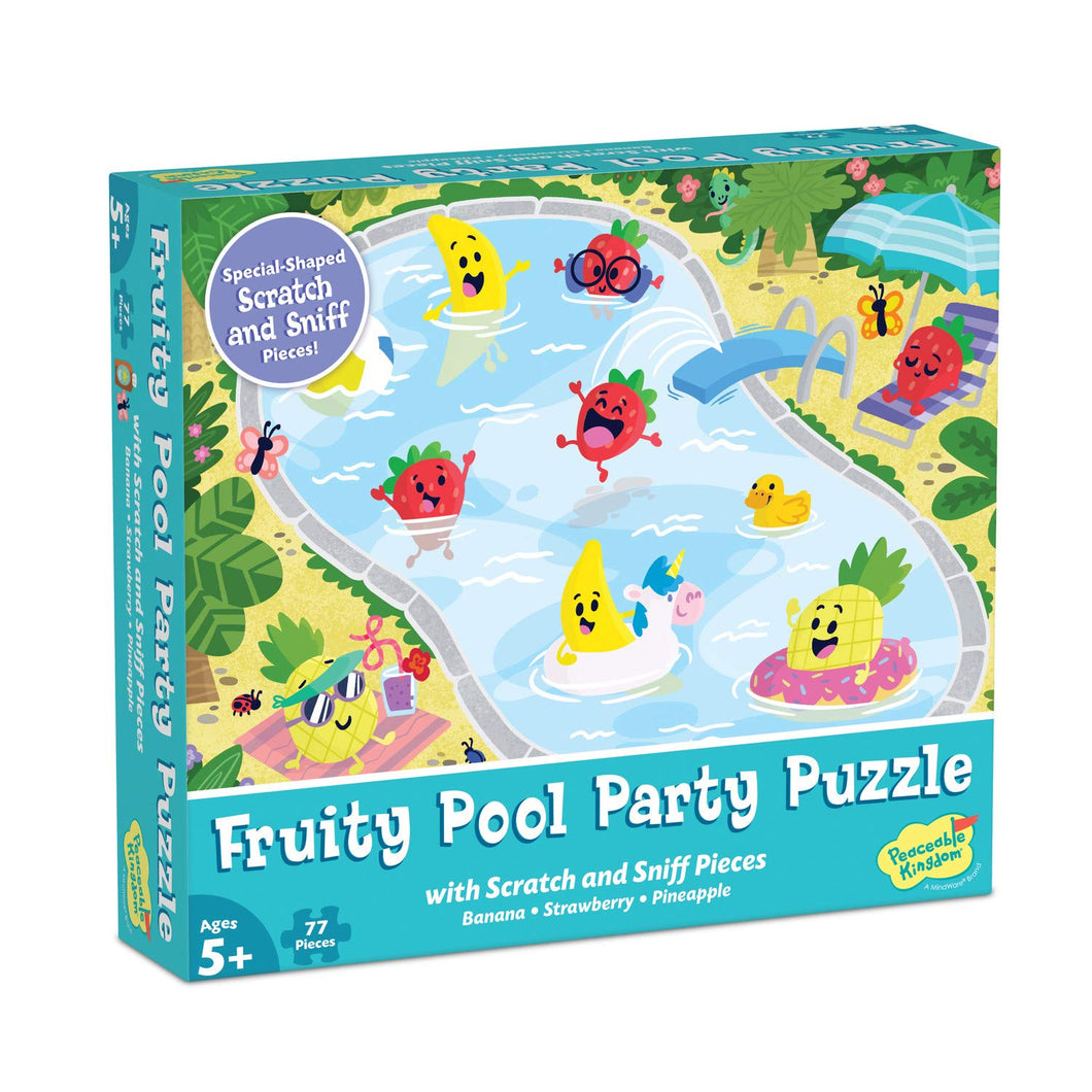 Image of Fruity Pool Party Puzzle packaging from Peaceable Kingdom