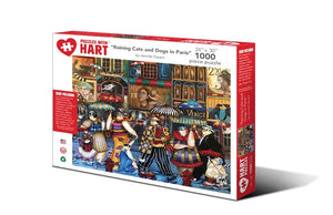 "Image of ""Raining Cats and Dogs in Paris"" 1000 piece puzzle packaging"