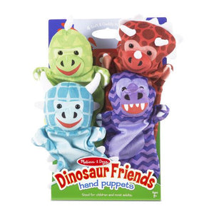 Image of Dinosaur Friends hand puppets by Melissa & Doug in packaging