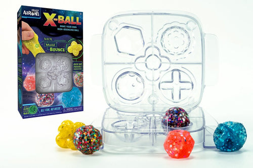 Image of X-Ball Activity Kit packaging and mold with 5 completed bouncing balls