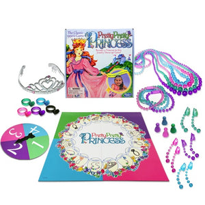 Image of Pretty Pretty Princess game pieces, gameboard, and packaging