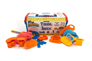 Image of Mad Mattr tool box with Mad Mattr dough and brick building tools displayed