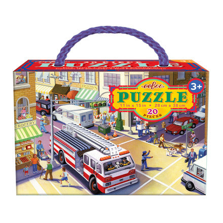 Fire Truck puzzle by eeBoo packaging with carrying handle