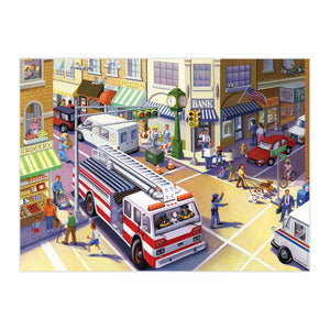Illustration of busy street intersection for Fire Truck puzzle by eeBoo