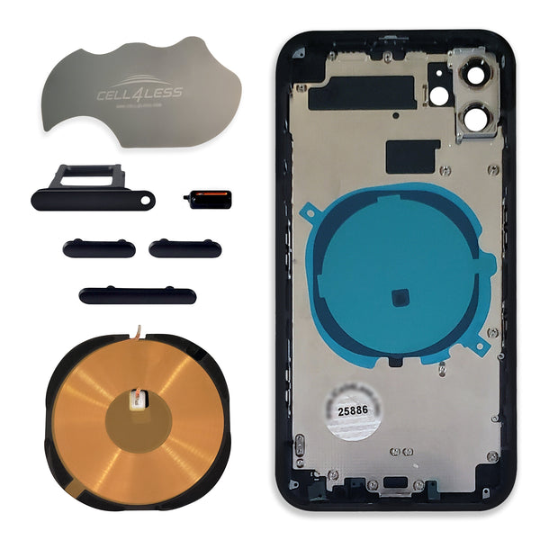 iPhone 11 Housing with Wireless Charging Pad, Volume Buttons and Sim Tray - CELL4LESS
