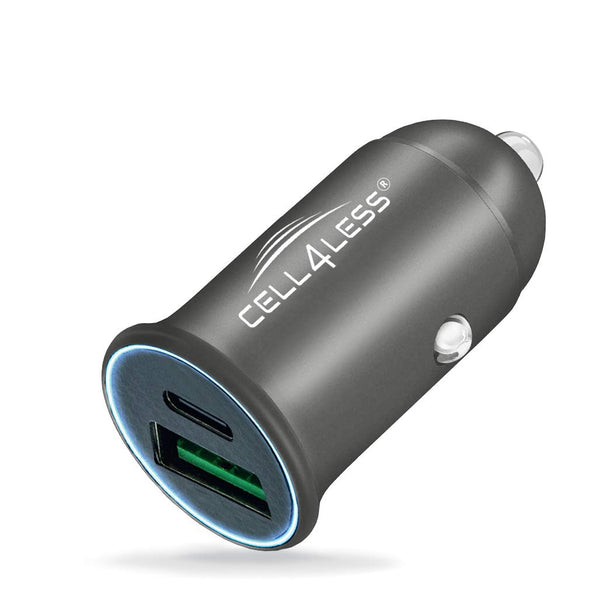 Cell4Less Mini Car Charger Alloy Metal PD 3.0 & QC, Dual Port USB-C PD 3.0 w/ Max 30W Output and USB-A QC 3.0 w/ Max 22.5W Output [Silver] - CELL4LESS