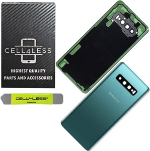 Samsung Galaxy S10 Back Glass OEM Replacement Battery Door Cover with Camera Lens, Pre-Installed Adhesive G973 Models