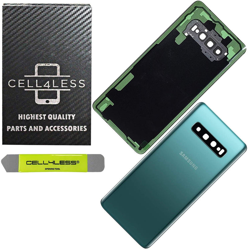 Samsung Galaxy S10 Back Glass OEM Replacement Battery Door Cover with Camera Lens, Pre-Installed Adhesive G973 Models - CELL4LESS