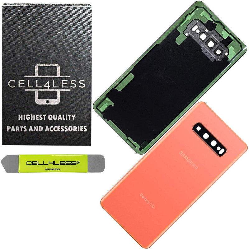 Samsung Galaxy S10+ PLUS Back Glass OEM Replacement Battery Door Cover with Camera Lens, Pre-Installed Adhesive G975 Models - CELL4LESS