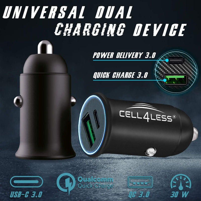 Cell4Less Mini Car Charger Alloy Metal PD 3.0 & QC, Dual Port USB-C PD - CELL4LESS