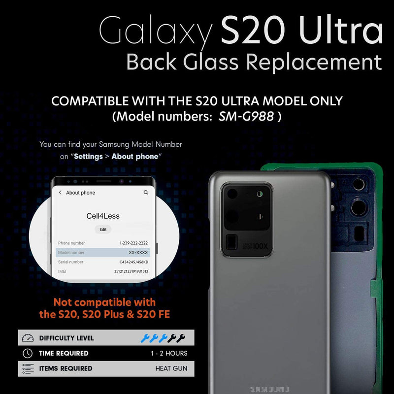 Samsung Galaxy S20 ULTRA 5G Backglass Replacement w/ Pre-Installed Lens and Adhesive & Removal Tool SM-G988 - CELL4LESS